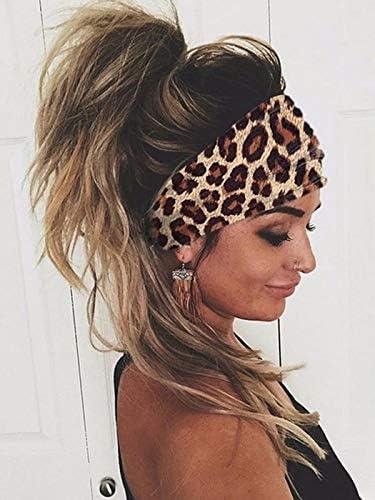 Unicra Boho Cross Leopard Headband Elastic Turban Hair Band Yoga Head Wraps for Women and Girls product image