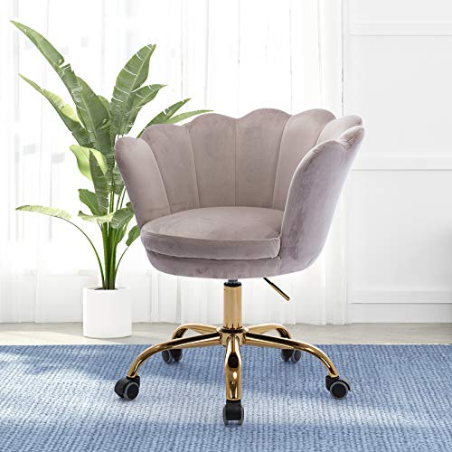 Henf Home Office Chair Swivel Shell Chair, Modern Leisure Accent Upholstered Chair, Height Adjustable Study Task Executive Chair with Wheels and Soft Seat, Gray & Gold