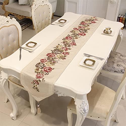 QL Table Runner Corredor De Mesa De Lujo Europeo Clásico Jacquard Bordado Elegante Moderno para El Hogar Decorar La Cena Mats Tea TV Mantel (Color : Beige, Size : 33 * 210cm)