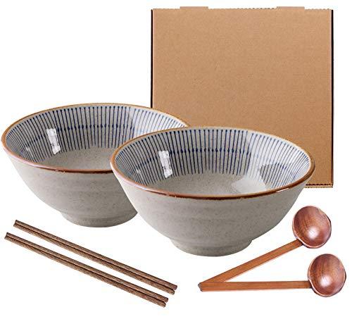 SDFVSDF Japanischer Ramen Schüssel aus Keramik, Großer Suppenschüssel mit Essstäbchen, Pastaschüsseln, Suppenschalen, Salatschüsseln, Futternäpfe Behälter für Pho, Ramen - 1100 ml