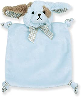 Bearington Baby Wee Waggles, Small Blue Puppy Stuffed Animal Lovey Security Blanket, 8
