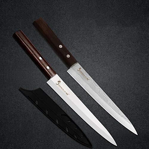 Cuchillo de sashimi de acero inoxidable de 8 pulgadas Cubierta libre Sharp Hoja de alto carbono Sushi Pescado carne Cuchillos de salmón de carne Herramientas de cocina (Color : A.2pcs with covers)
