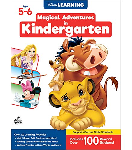 Disney Learning – Magical Adventures in Kindergarten, Math & Language Arts Workbook, 256 Pages with 140 Stickers