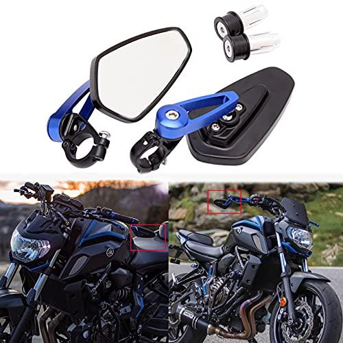 Universales motocicleta manillar extremo de la barra retrovisores laterales azules para Scooter Cruiser Sport Bike Chopper