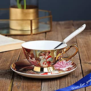 ACCIPOO 3 Pcs Coffee Cup Saucer With Spoon Continental Retro, Premium Art Afternoon Tea Cup Spoon Set, Suitable for Offic...