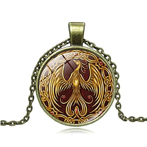 Danigrefinb - Collar de cristal con colgante de estilo vintage, diseño de fénix, cadena de clavicular, joyería para mujer, regalo – dorado