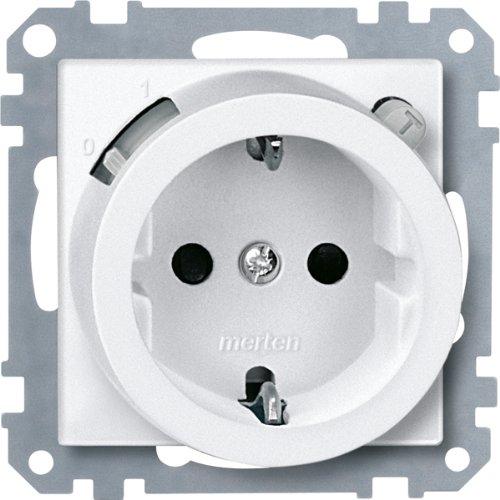 Merten 232819 FI-SCHUKO-Sicherheitssteckdosen-Einsatz mit BRS, polarweiß, System M