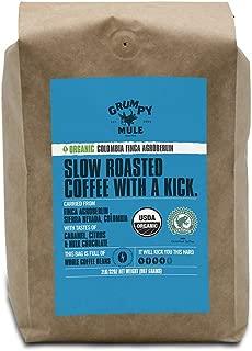Grumpy Mule Organic Colombia Finca Agroberlin Whole Bean Coffee - 2 pounds/32 oz. (907 grams). Rainforest Alliance Certified.