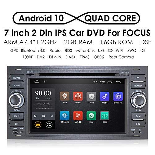 In Dash - Sistema de navegación para Coche (Android 9.0, Quad Core, Doble DIN, estéreo, para Ford Focus Mondeo S-MAX, C-MAX, Galaxy Support WiFi, 4G, Bluetooth, Dab, DVR, SWC)