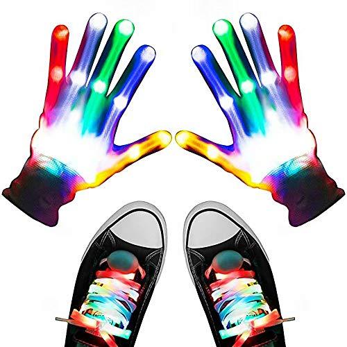 LED Handschuhe Schnürsenkel Set, Light Up Handschuhe für Kinder, Flashing Light Up Handschuhe Kombination Weihnachtsfeier Dance Music Festival Glow Zubehör Requisiten Spielzeug für Erwachsene Kinder