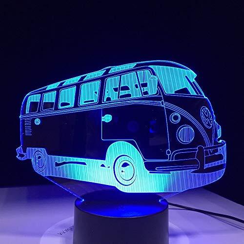 Diseño de arte único lámpara de escritorio 3D ilusión LED efecto de inducción de luz nocturna colorida luz inteligente estéreo