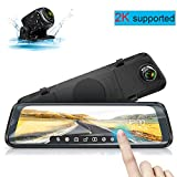 Mirror Dash cam by WiMiUS 10'' Full Touch Screen Backup Camera 2560x1440P Dual Dash cam Front and Rear with Super Clear Night Vision, G-Sensor, Parking Monitor, Loop Recording for Car and Trucks
