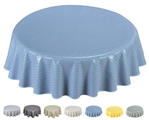 Home Direct Wachstuch Tischdecke Abwaschbar Rund 140cm (Blau Grau)