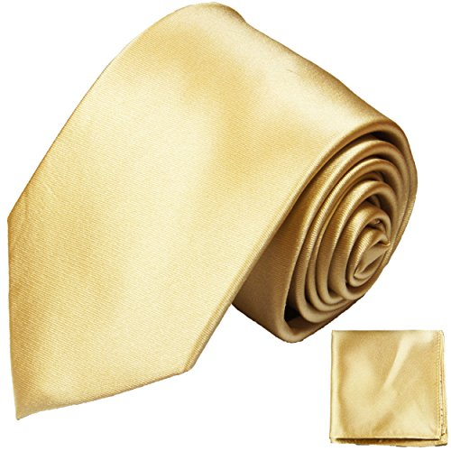 Paul Malone gold sandfarben Satin Krawatten Set 100% Seidenkrawatte mit Einstecktuch