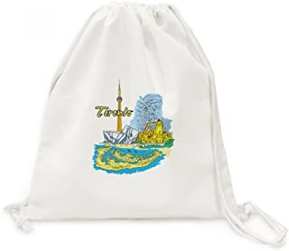 Canada Flavor Toronto Scenery Landmark Canvas Drawstring Backpack Travel Shopping Bags