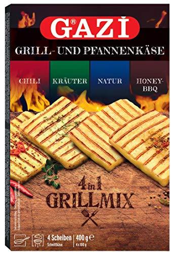 Gazi Grill- und Pfannenkäse Grillmix - 3x 400gramm - Pfanne Grillkäse Ofen Ofenkäse Backkäse 45% Fett i. Tr. Schnittkäse mikrobielles Lab Halal vegetarisch glutenfrei Chili Natur Kräuter Honey-BBQ