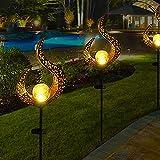 Solarlampe für Außen, 2er Metall Aushöhlen LED Stake Dekorative Gartenfahlständer Solarleuchte im Freien Solar Fackel Garten Solar Flammenlicht IP65 Gartendeko für Terrasse, Weg, Hof, Rasen
