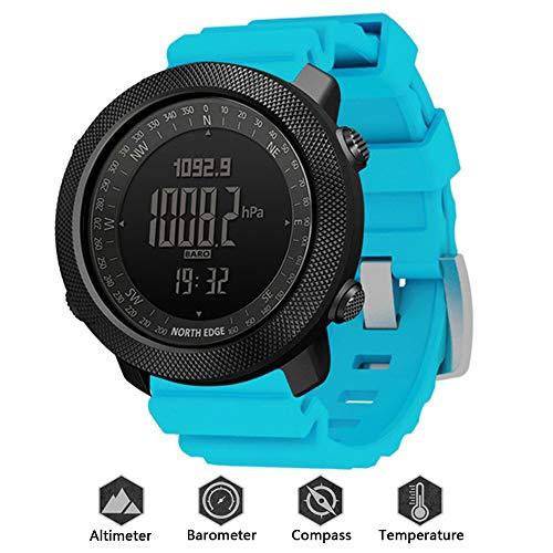 HXHH 2021 Nuevo Reloj De Deportes De Aventura Al Aire Libre De Silicona, Reloj Militar Impermeable 50M con Altímetro, Barómetro, Brújula Y Termómetro, Reloj Funcional Profesional,Azul