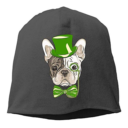 NA St. Patrick's Day Bulldog.PNG Wintermütze mit Totenkopf-Mütze, warm, gestrickt, strapazierfähig