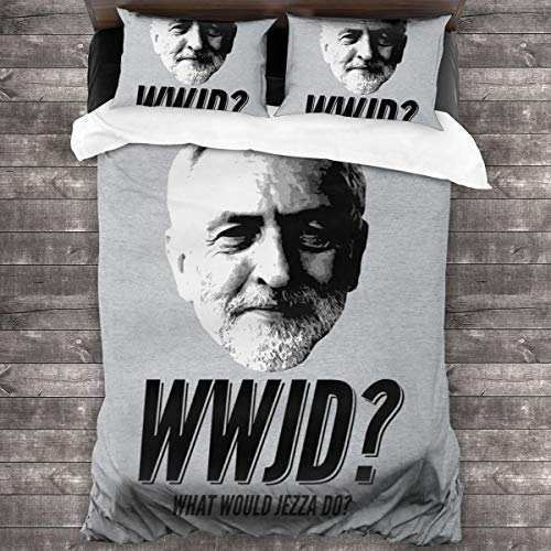 KUKHKU Jeremy Corbyn WWJD What Would Jezza Do 3 Pieces Bedding Set Duvet Cover 86″x70″,Decorative 3 Piece Bedding Set with 2 Pillow Shams