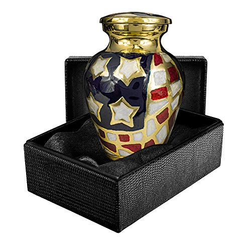 Patriotic Small Mini Keepsake Urns for Human Ashes - Qnty 1 - For Veterans First Responders and Patriots That Loved America - Find Comfort and Pride With This Red White and Blue Urn - w Case
