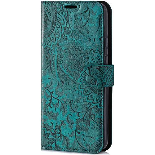 SURAZO Handyhülle für iPhone 12 Pro Max - Premium Echt Leder Hülle Schutzhülle mit [MagSafe kompatibilität] [RFID Schutz] Klapphülle Wallet case Handmade für Apple iPhone 12 Pro Max (Ornament Türkis)