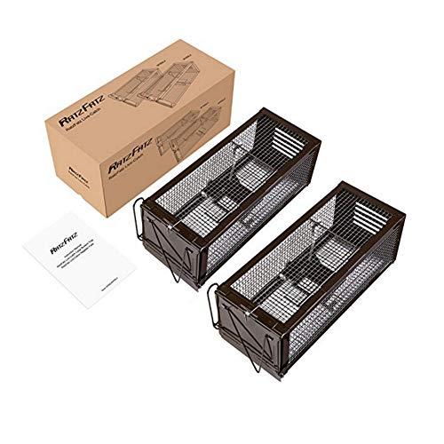 RatzFatz 2Pcs Gabbia Trappola in Metallo per Catturare Animali Vivi di Piccola Taglia 32 x 13 x 13 cm Come Conigli, Ratti, Topi, Faine o Altri Animali Selvatici - Nero