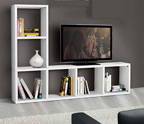 ZeroDueZero - Mobile Libreria con Porta TV in Legno Bianco da Vinci