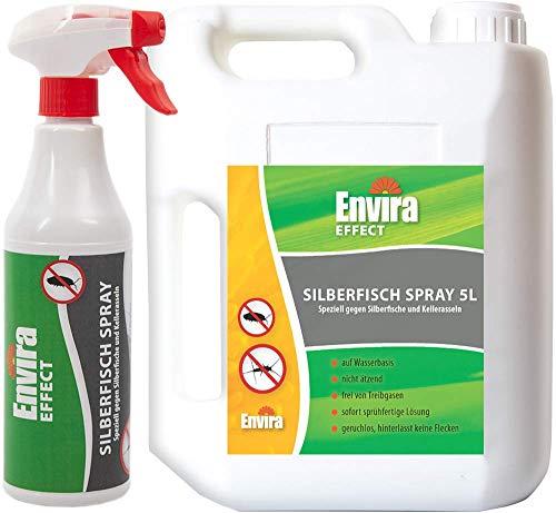 Envira Silberfisch-Spray - Anti-Silberfisch-Mittel Mit Langzeitwirkung - Geruchlos & Auf Wasserbasis - 5L+500ml