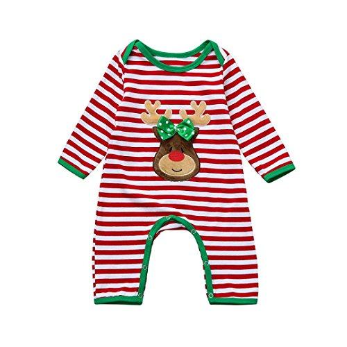 6-18M Bebe Noel Deguisement Cerf Pyjama de de Ensemble au Rayures (6M)