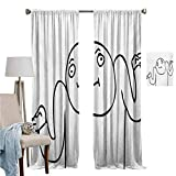 Blackout Curtains for Living Room- Curtains for Bedroom Whatever Guy Meme Confusion Gesture Label Creative Drawing Rage Makers Design Bedroom Living Room Decoration Set of 2 Panels W107'x L107'