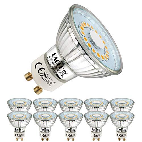 EACLL Bombillas LED GU10 2700K Blanco Cálido 5W Fuente de Luz 425 Lúmenes Equivalente 50W Halógena. AC 230V Sin Parpadeo Focos, 120 ° Spotlight, Blanca Cálida Lámpara Reflectoras, 10 Pack