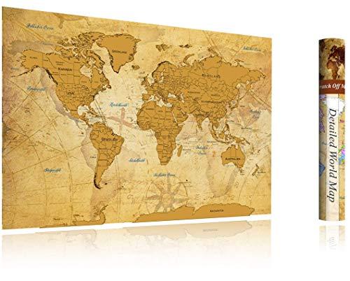 *FlyHigh XXL Weltkarte Poster zum Rubbeln in Deutscher Sprache (82×60 cm) inklusive Klebesticker, Kratzwerkzeug und Mikrofasertuch (Gold)*
