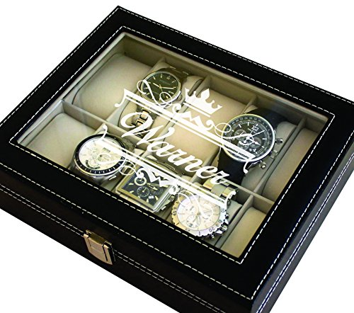 Custom Engraved Watch Storage Case Box - Groomsmen Father's Day Gift - Personalized - Crown Style (Black)
