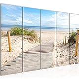 Playa decoración de la pared mesa y Mar - 150 x 60 cm Vista de impresión en lienzo Salón Apartamento - listo para colgar - 607356b