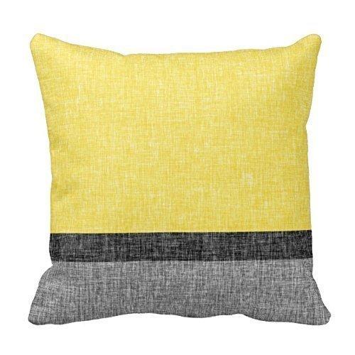 Syncw Kussenslopen Geel grijs en zwart strepen 18x18(inches)