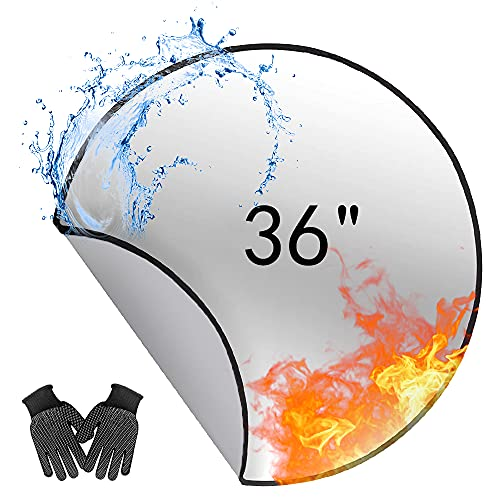 Fire Pit Mat, 36 Inch Patio Fireproof Mat, Deck Protector for Wood Burning Fire Pit & BBQ Smoker, Fire-Resistant Round Grill Mat for Lawn, Concrete, Stone, Under Stove or BBQ (36'')