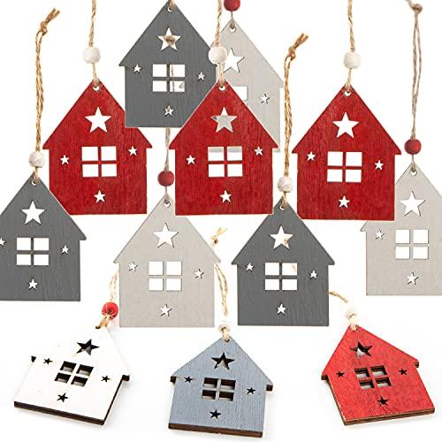 decorazioni natalizie da appendere Logbuch-Verlag 12 piccole case in legno – Casette di legno natalizie