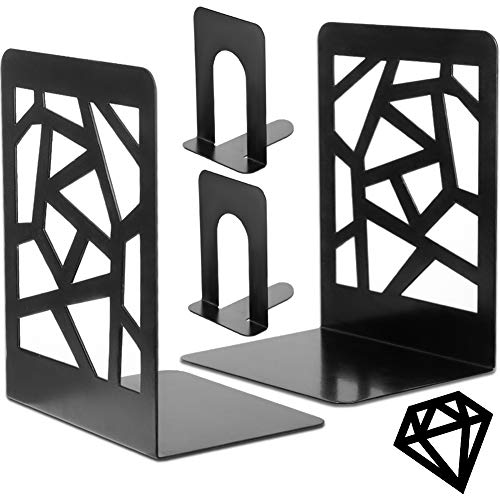 Bookends Book Ends Metal Bookend Decorative Heavy Duty Book End for Shelve Black Book Supports NonSkid Book Stopper Geometric Diamond Bookshelf Holder for Office Home School Kitchen