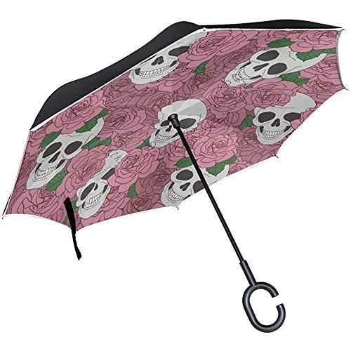 Elxf Reverse Umbrella Motorisierter Weihnachtsmann Inverted UV Protection Umbrella Reversible für Golfwagen Travel Rain Outdoor Black