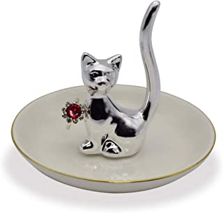 Exembe Cat Love Ring Holder for Jewelry Tray Storage Trinket Table Decor Stand -Silver