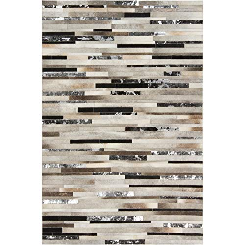Hand-Crafted White/Black Leather Animal Hide Area Rug - 2' X 3' Grey Abstract Stripe Modern Contemporary Rawhide Latex Free Handmade