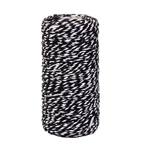 Ndier 100 m Baumwollschnur, Dekoration, für Geschenkverpackung, Handwerk, Schwarz und Weiß