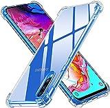 ivoler Funda para Samsung Galaxy A70, Carcasa Protectora Antigolpes Transparente con Cojín Esquina Parachoques, Flexible Suave TPU Silicona Caso Delgada Anti-Choques Case Cover