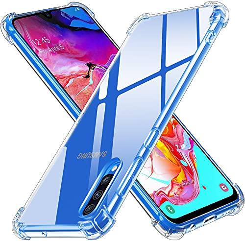 ivoler Klar Silikon Hülle für Samsung Galaxy A70 mit Stoßfest Schutzecken, Dünne Weiche Transparent Schutzhülle Flexible TPU Durchsichtige Handyhülle Kratzfest Case Cover