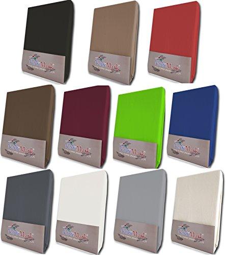 NatureMark Topper Spannbetttuch, Spannbettlaken in Allen Größen und vielen Farben (90 x 200 bis 100 x 200 cm, Sand)
