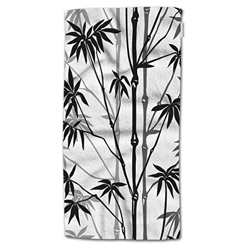 """HGOD DESIGNS Hand Towel Bamboo,Asian China Black Bamboo Painting Design Hand Towel Best for Bathroom Kitchen Bath and Hand Towels 30"""" Lx15 W"""