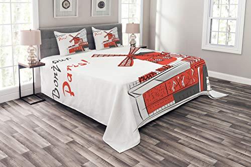 ABAKUHAUS Paris Tagesdecke Set, Städtische Sketchy Landschaft, Set mit Kissenbezügen Weicher Stoff, für Doppelbetten 220 x 220 cm, Orange Weiß Grau