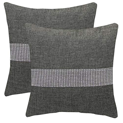 FYJS Confezione da 2 federe in lino artificiale con paillettes tridimensionali Decorazioni per la casa Fodera per cuscino quadrato per divano camera da letto 45x45cm,Grigio scuro