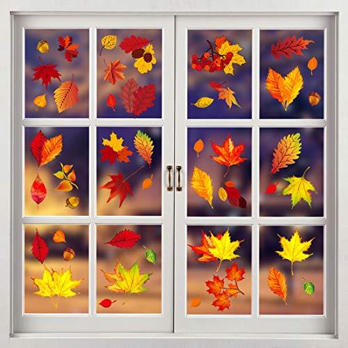 Herbst Fensterbilder Erntedankfest fensteraufkleber ohne Kleber Thanksgiving Fensterdeko Ahornblätter Marone Fenster Sticker Deko für Kinderzimmer Cafe Buchhandlung (Pure Maple Leaf)
